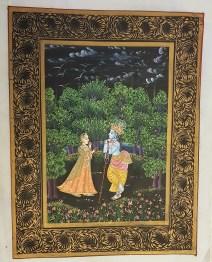 Pitchway peint à la main sur tissu représentatif de scène indienne, INDE - Dimension : 26.5 cm x 33.5 cm - Prix de vente : 50€.