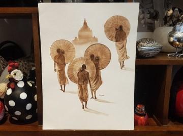 Aquarelle tibétaine, NÉPAL - Dimension : 38 cm de haut x 28 cm de large - Prix de vente : 55€.