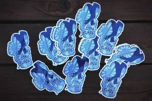 Assortment of Hike Lake Tahoe stickers designed by Jared Manninen
