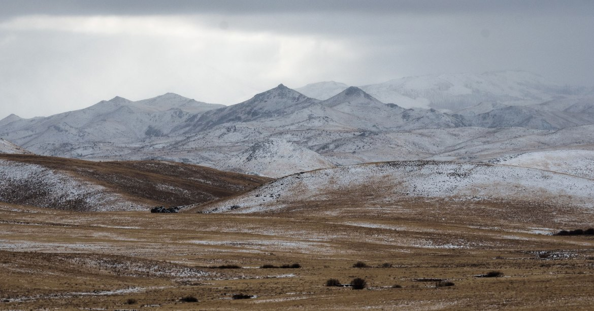 Snowy mountains and dry grass plains