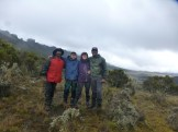 The Kilimanjaro instructor team photo on Kilimanjaro's Shira Plateau: KG, Jared, Kate, Will