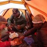 Ugali and meat, instructor team tent