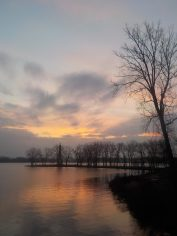 Solstice sunrise in Presque Isle State Park over Lake Erie