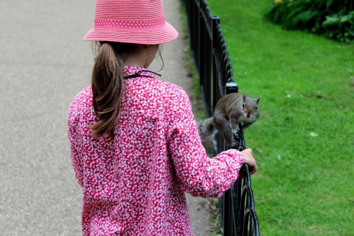 Ania and a squirrel
