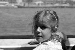 Ania on a river boat