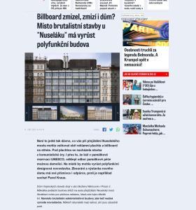 """Blesk: Billboard zmizel, zmizí i dům? Místo brutalistní stavby u """"Nuseláku"""" má vyrůst polyfunkční budova"""