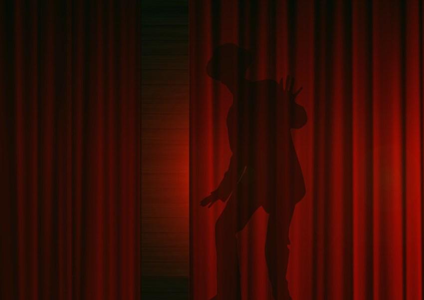 Shadow of Man Hidden Behind Curtain