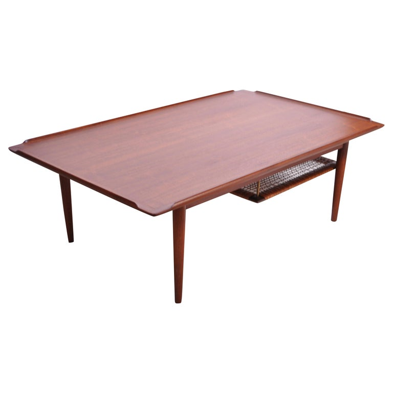danish modern selig teak coffee table with rattan rack