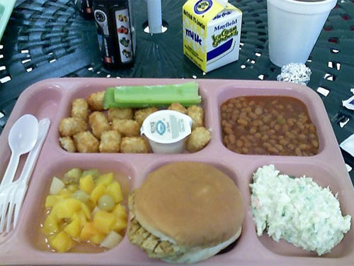 Tray of Food from American School Cafeteria