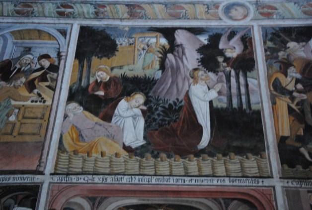 """Fresque du XVe siècle de la chapelle de Notre dame des Fontaines à la Brigue (Alpes Maritime). La Brigue faisait alors parti des états de Savoie. Cette peinture résume la vie du christ. Le peintre a essayer de représenter """"le jardin des oliviers"""". On peut remarquer la clôture du jardin en """"plessés"""", comme devait l'être le jardin de Pont d'Ain."""