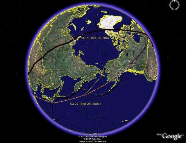 Polar flight to Asia