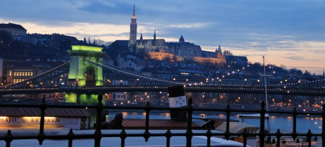 Buda Palace and Chain Bridge at dusk