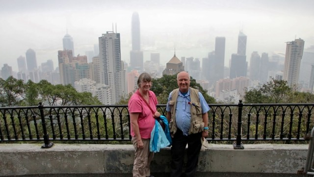 Doug and Nancy at Victoria Peak Hong Kong