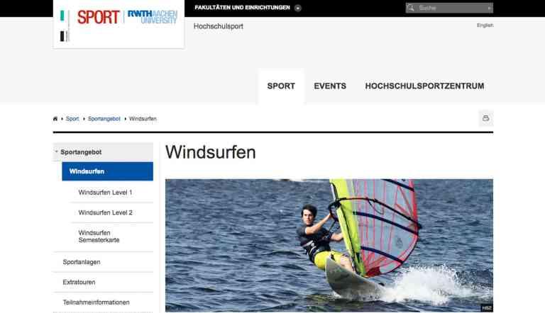 Hochschulsport Aachen Windsurfen