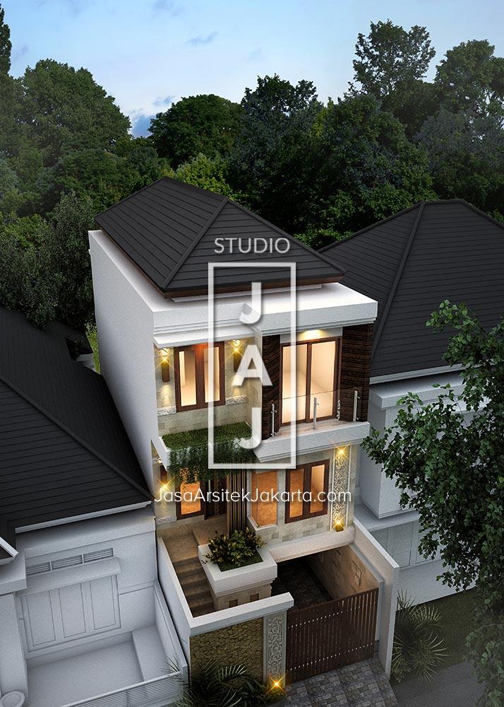Desain Rumah 2 Lantai Luas Bangunan 200m2 Style Bali Modern Ibu