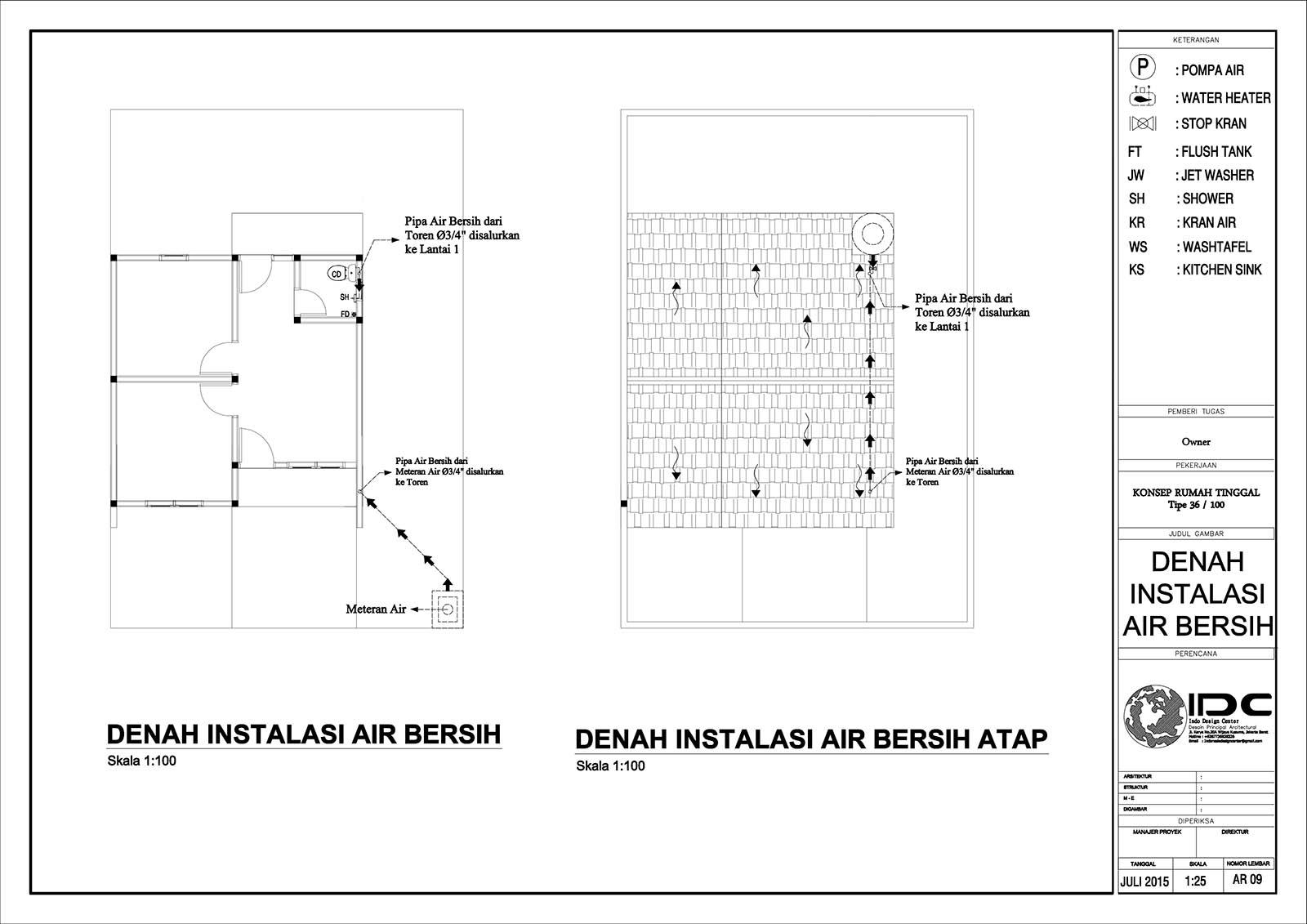 Gambar Kerja Rumah Tinggal Type 36 Jasa Desain Rumah Jakarta