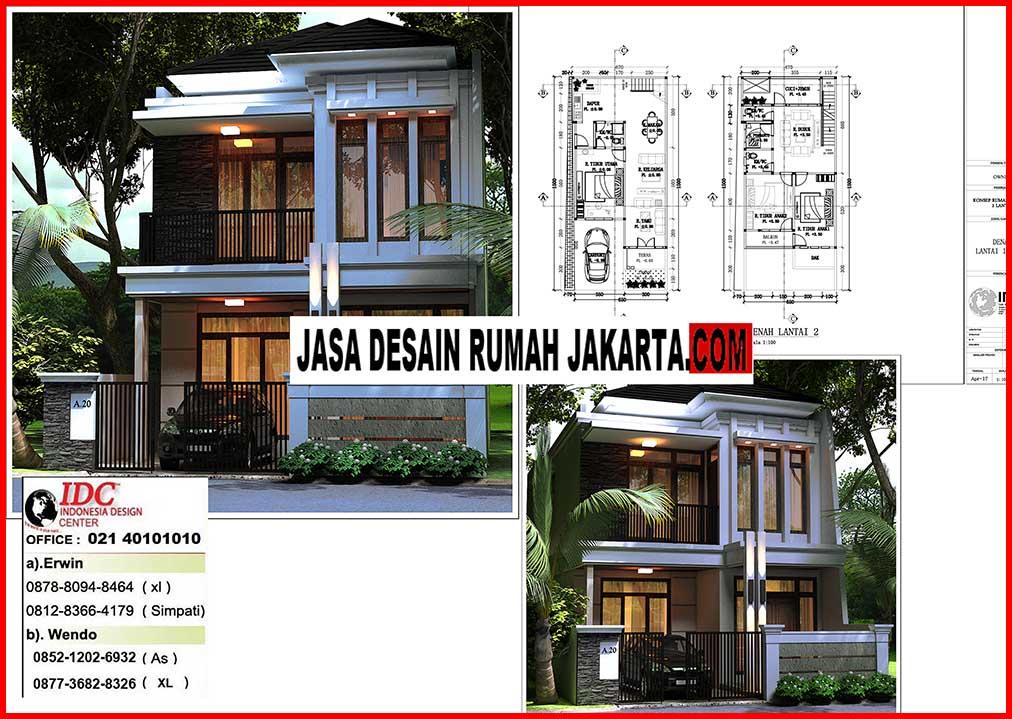 Desain Rumah Lebar 7 x 15 Minimalis Elegan Mewah 2 Lantai