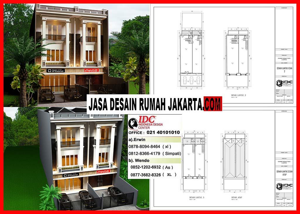 Jasa Desain Ruko Minimalis 3 Lantai Modern Ukuran Lebar 62 Dan 5