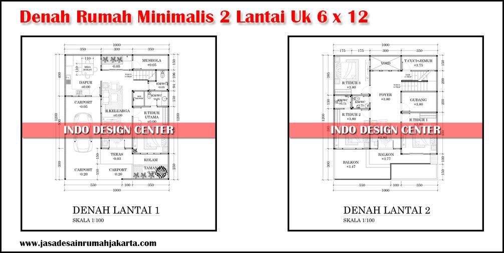 Denah Rumah Minimalis 2 Lantai Modern Ukuran 10x12 Denah Rumah