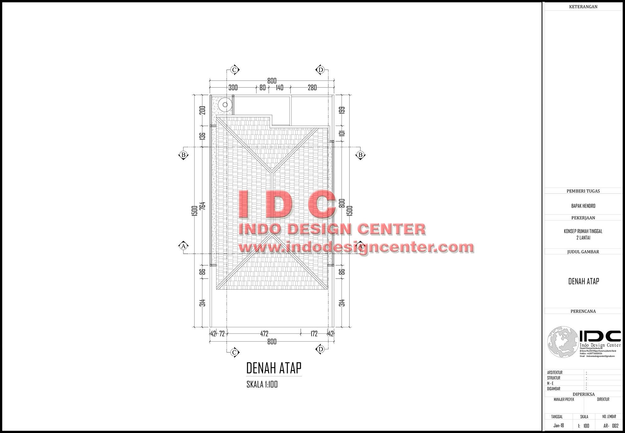 Contoh Gambar Kerja Lengkap Rumah Minimalis 2 Lantai Hal 002 INDO