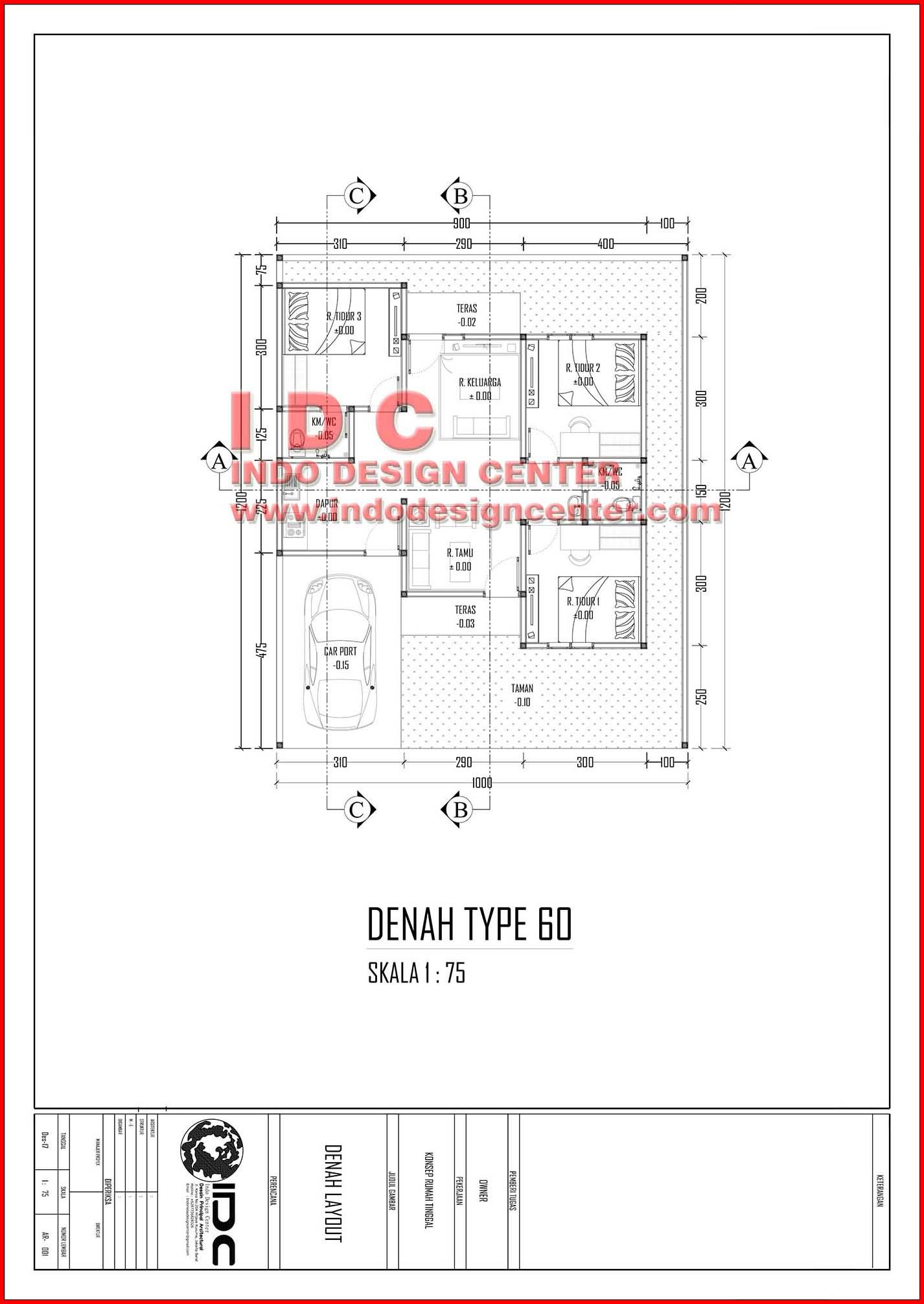 Gambar Kerja Rumah Tinggal Type 60 Jasa Desain Rumah Online