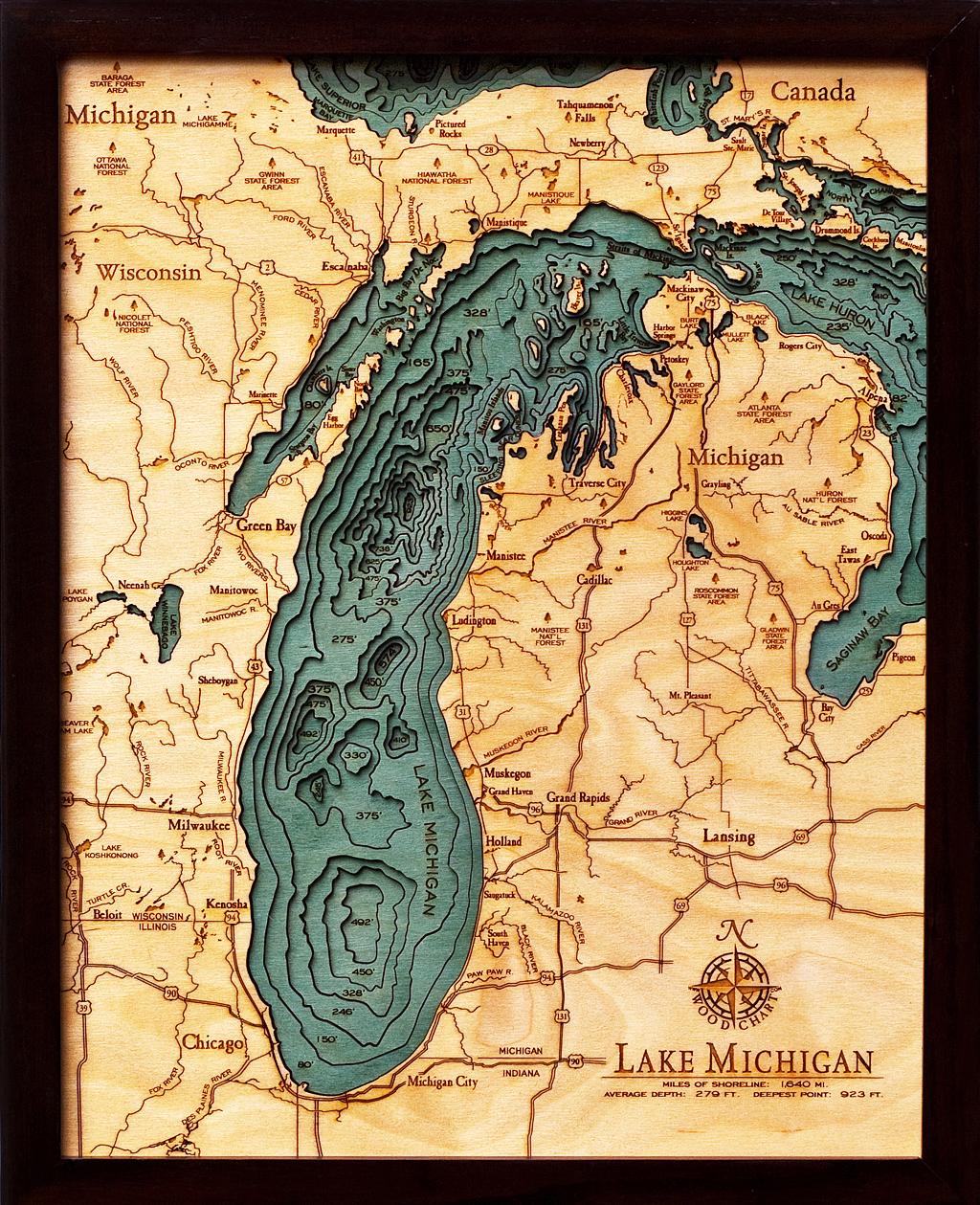 Lake Michigan Wood Chart Mich D2s