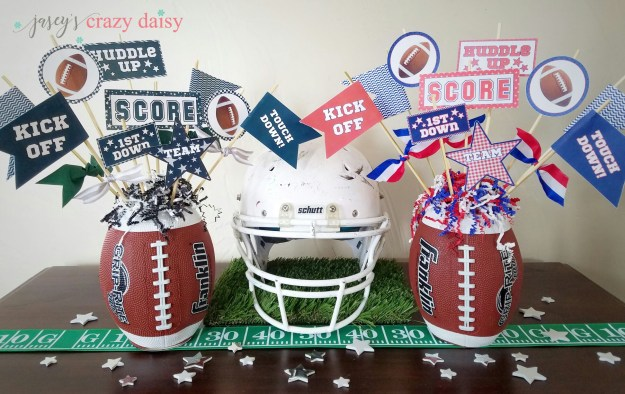 DIY Football Printables with Superbowl Centerpiece Tutorial