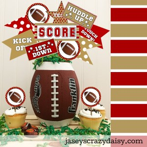 Red and Metallic Gold Football Printables