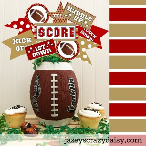 Red and Metallic Gold Football Pennants