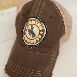 Brown Wyoming Cowboys Circle Patch Hat