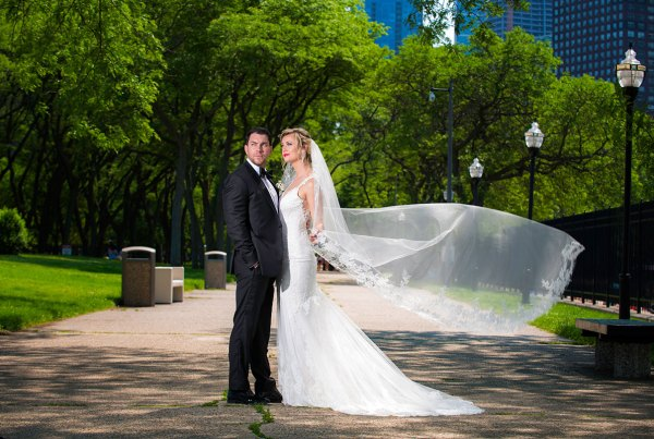bride and groom portrait photograph for chicago wedding at olive park