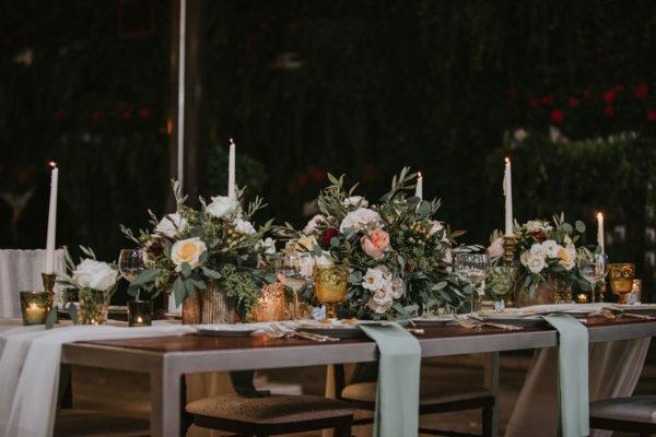 wedding venue table details, rustic theme