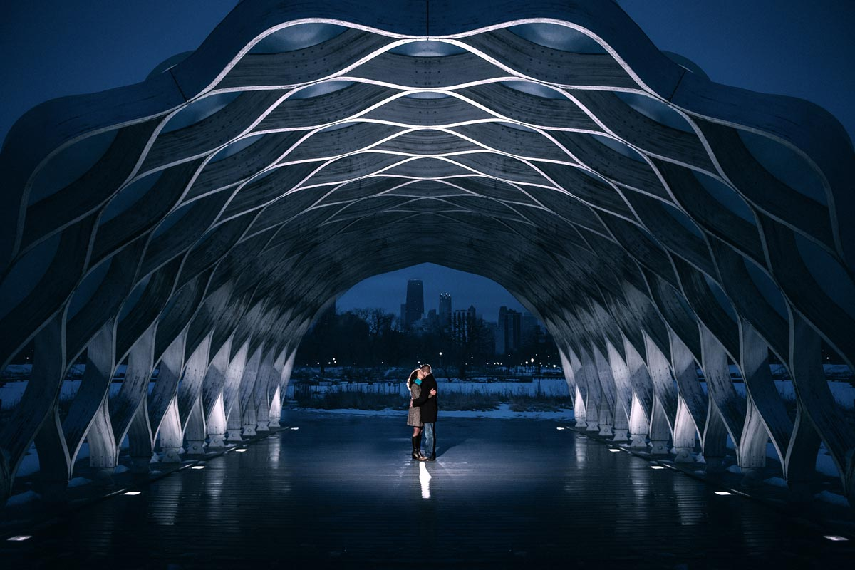 Couple engagement Photo Under Structure in Lincoln Park