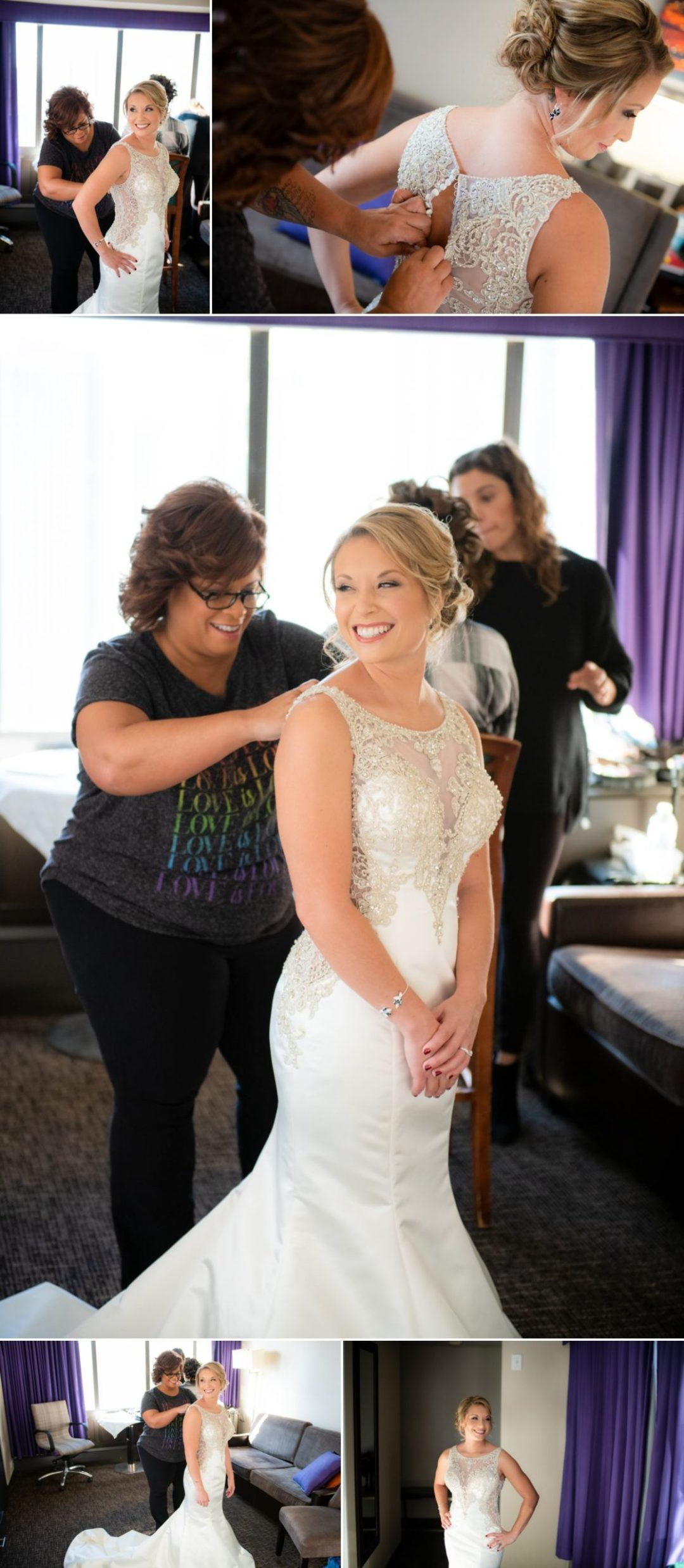 bride and her mom finalizing getting ready
