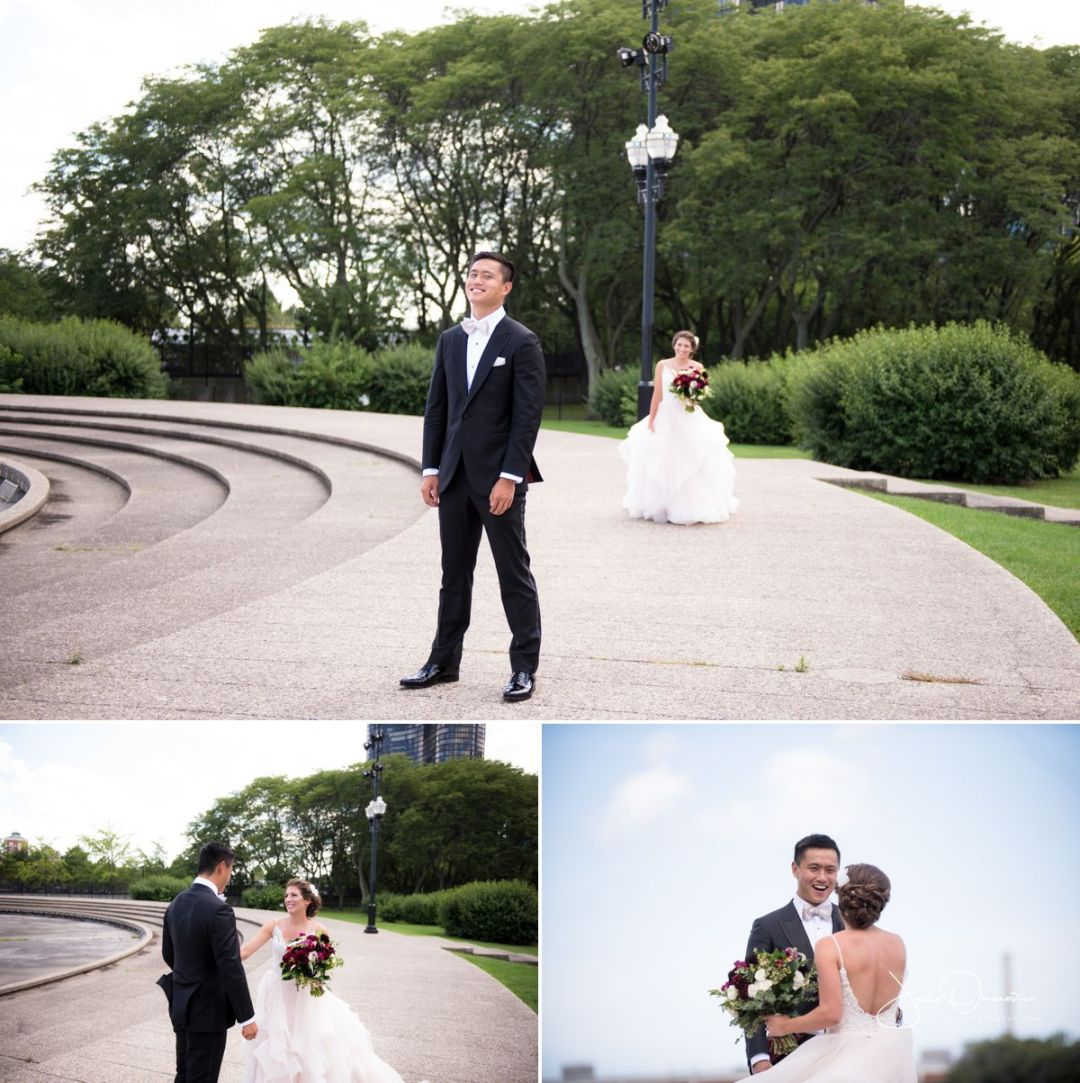 wedding day first look at navy pier in chicago