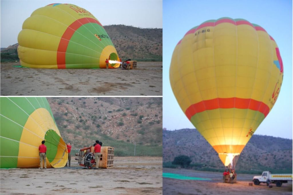 Balloon inflation before flight next to Amer Jaipur