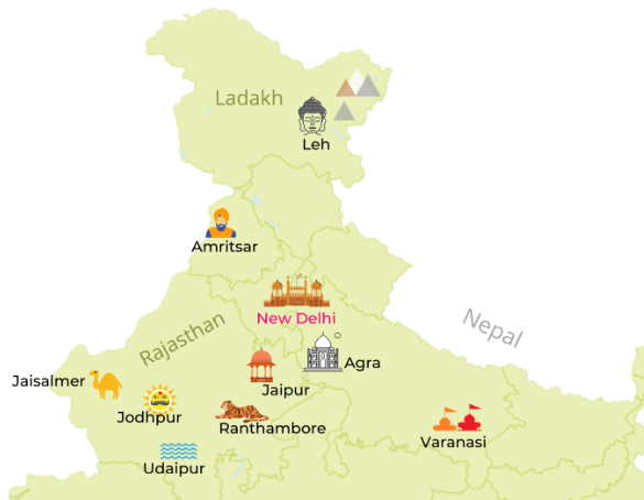 Detailed Map f North India Destinations by Jasmine Trails