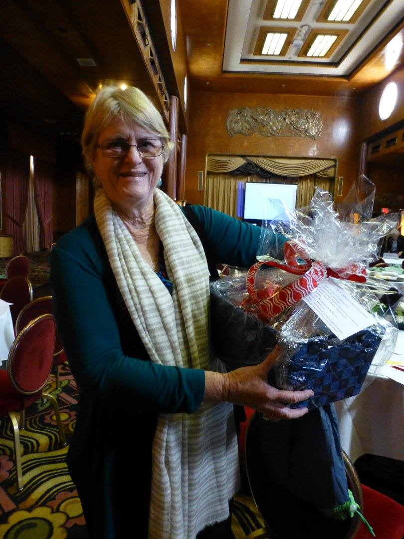 Diane Stafford, one of the winners of the basket raffle