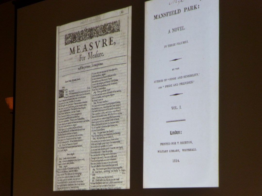 Sarah Raff discussed the similarities between Austen's Mansfield Park and Shakespeare's Measure for Measure.