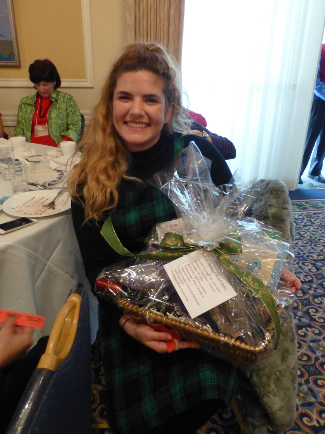 One of the winners of the basket raffle