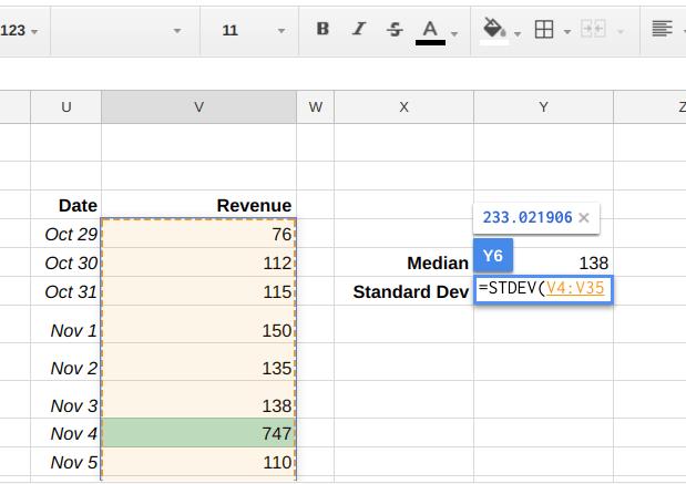 Google Sheets formula for calculating Standard Deviation