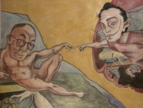 "PRIVATE COLLECTION ""The Creation of Dalai and Dali"" Jason J. Anhorn Watercolor on Arches Paper."