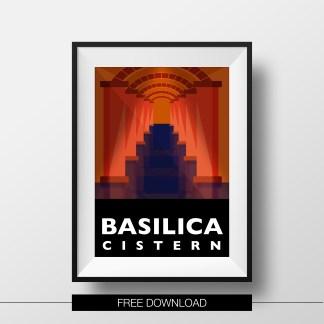 poster-istanbul-landmarks-basilica-cistern-free-download