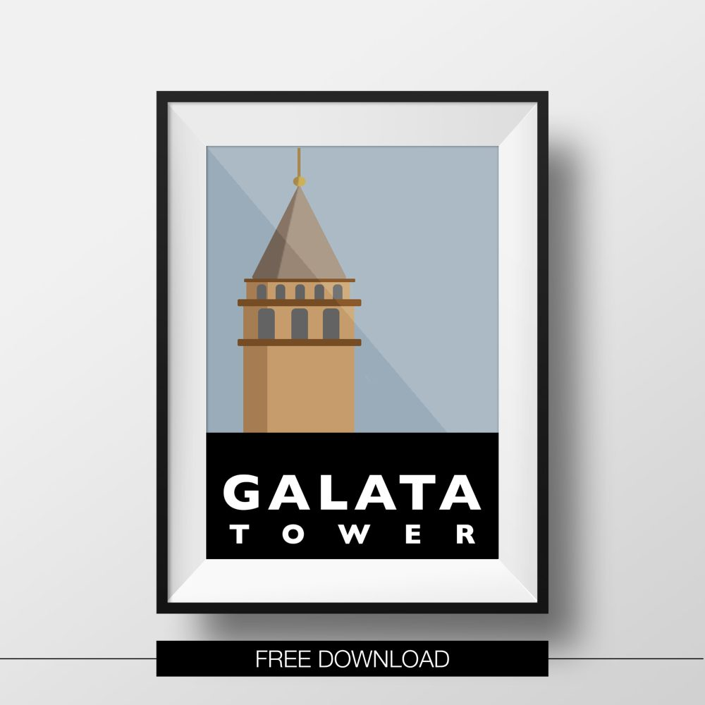 poster-istanbul-landmarks-galata-tower-free-download