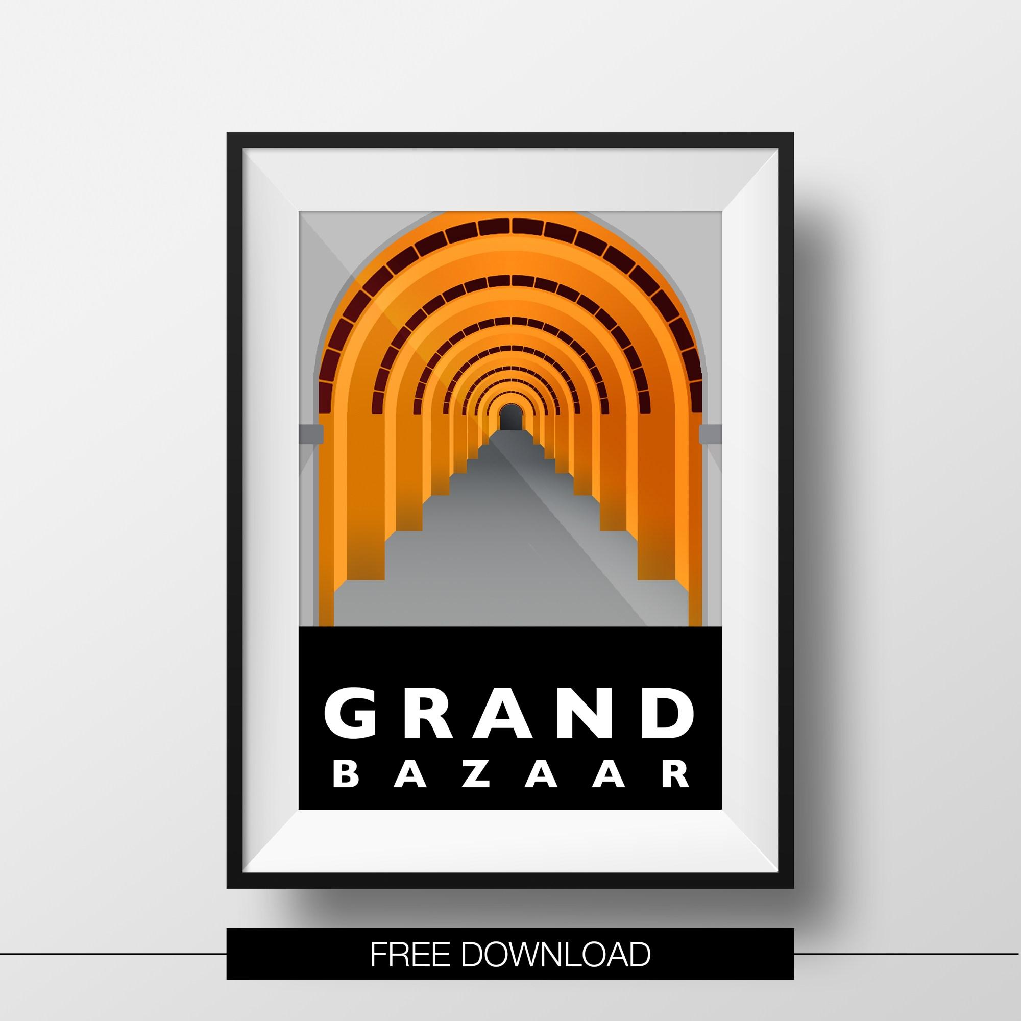 poster-istanbul-landmarks-grand-bazaar-free-download