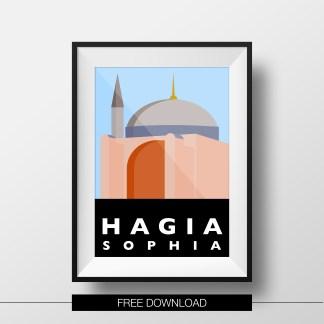 poster-istanbul-landmarks-hagia-sophia-free-download