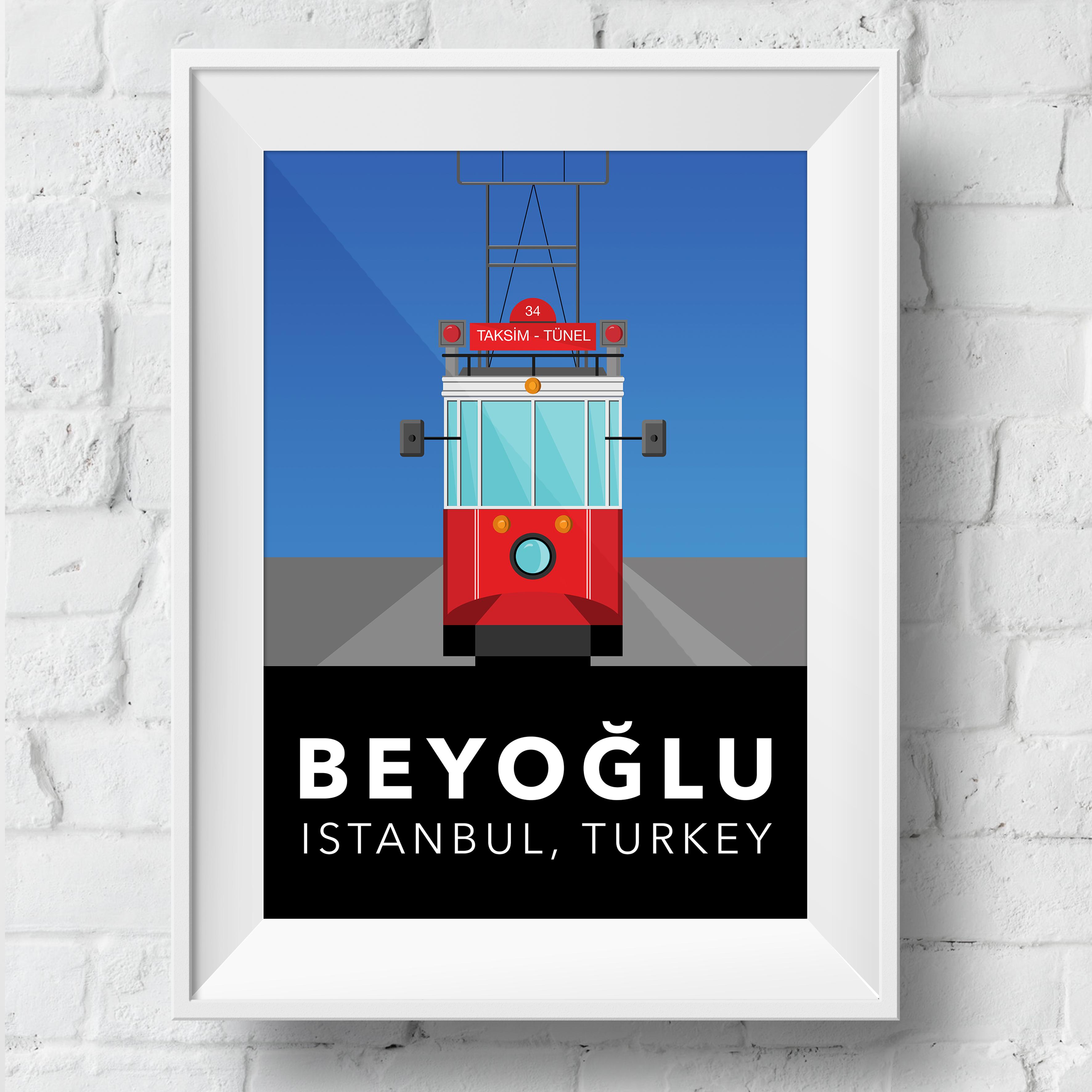 beyoglu-tram-poster-framed