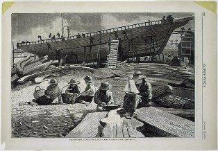 After Winslow Homer, Ship-Building, Gloucester Harbor, published 1873, wood engraving on newsprint, Avalon Fund