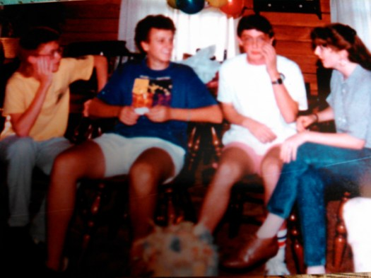 Left to right: Kevin Baird (with whom I'm still friends); Chris Hubbard (with whom I rented my first apartment); Rachelle Ford (my first girlfriend in high school). This was in 1987, I think.