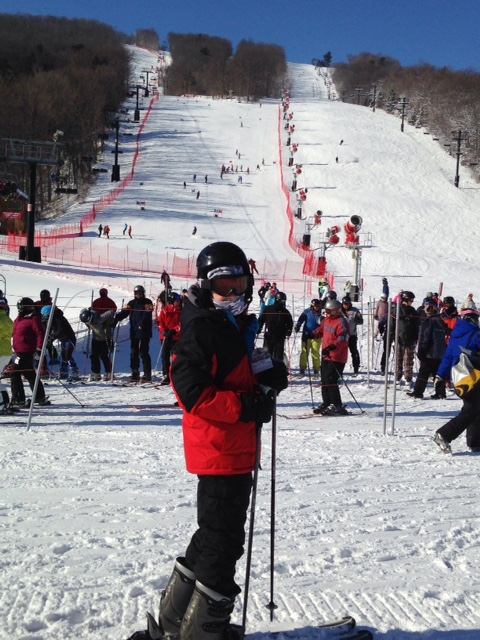 My older son, Bernie, skiing earlier today at Bristol Mountain in upstate New York.